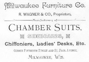 Milwaukee Furniture Company ad, 1892